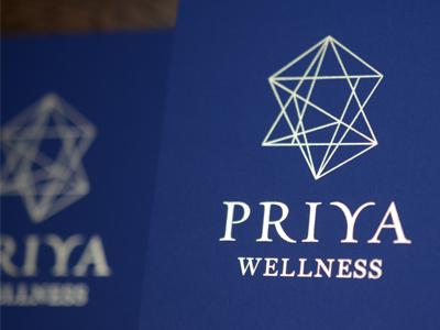 Priya Wellness identity ace bindery foil stamp