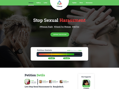 iChange- Petition Create  PSD Template progress bar web templete. homepage clean ui design creative morden petition