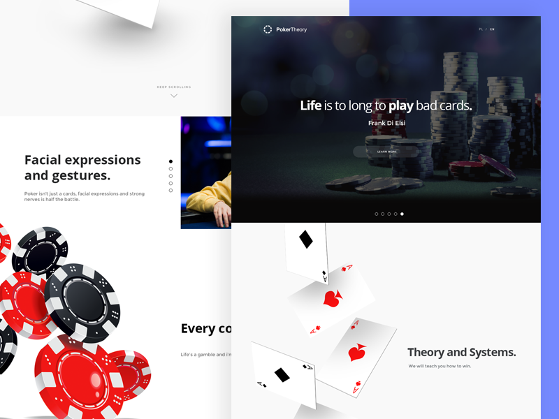 PokerTheory hire poznan poland coin site cards poker minimal webdesign design web