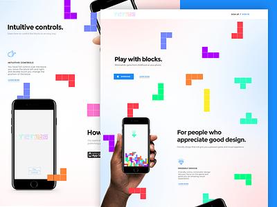 Tetris web minimal hire illustrator sketch apps app webdesign design web tetris