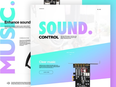 Sound control color sound music landing web graphic page design webdesign landing page