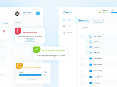 Backup tool - dashboard backup tool dashboard ui ux kit design data base desktop app