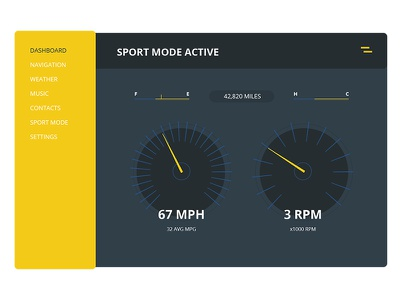 Material Car Interface horse power sport whether music settings dashboard interface ui range rover car