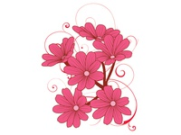 Pink Flower With Ornaments