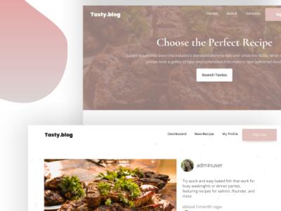 Tasty.blog Social Media Recipe App ui website css