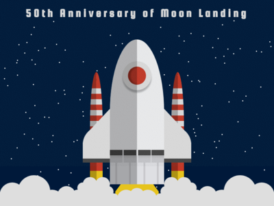 50th Anniversary of Moon Landing tribute anniversary moon rocket space moon landing illustration css