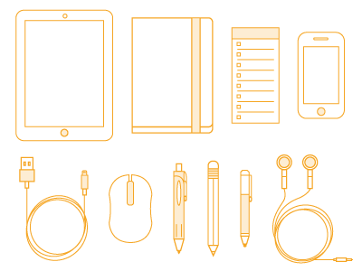 Icon set - first bunch topxel icon desk pen pencil ipad headphones iphone notebook to-do list mouse line