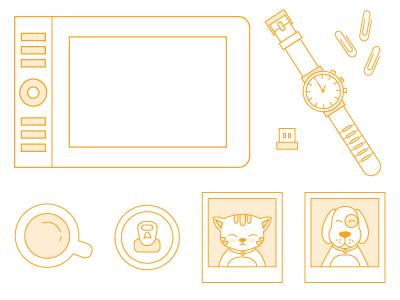 Icon set - second bunch topxel icons desk usb wacom polaroid coffee coke cat dog