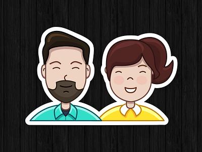 "Sticker ""us"" stickermule illustration people sticker"
