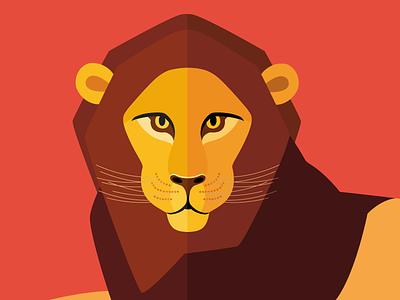 Animal cards: The Lion savannah lion nature flat cute illustration card animal