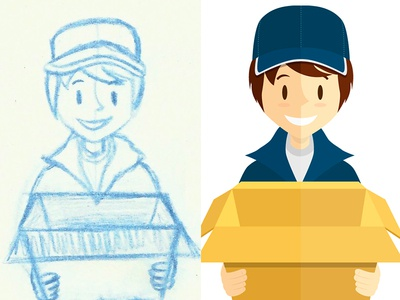 Delivery boy - from sketch to vectorial version illustration box character boy delivery