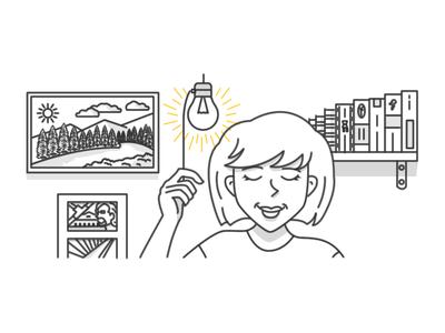 Illustration for topxel illustration light girl person light bulb topxel