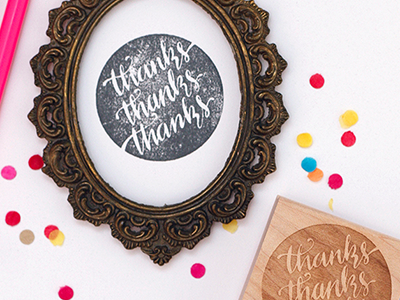 Thanks X3 Stamp rubber stamp stamp stationary calligraphy hand lettering hand lettered hand done type typeography thank you thanks etsy product shot reverse type