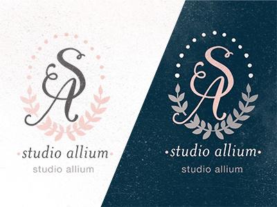 Studio Allium Colorway 1 logo identity laurel leaf laurel wreath wreath calligraphy hand lettering monogram colorway palette navy pink white distress studio grey s a flourish