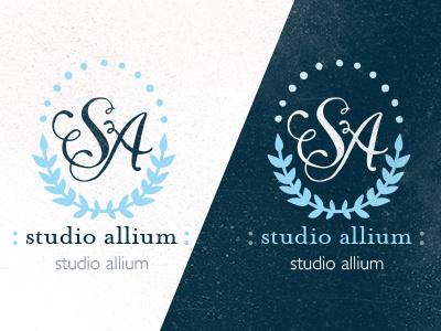 Studio Allium Colorway2 logo identity laurel leaf laurel wreath wreath calligraphy hand lettering monogram colorway palette navy pink white distress studio grey s a flourish blue