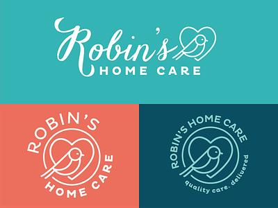 Robin's Home Care Logo Variations typography heart icon identity mark bird robin medical health care home care negative logo