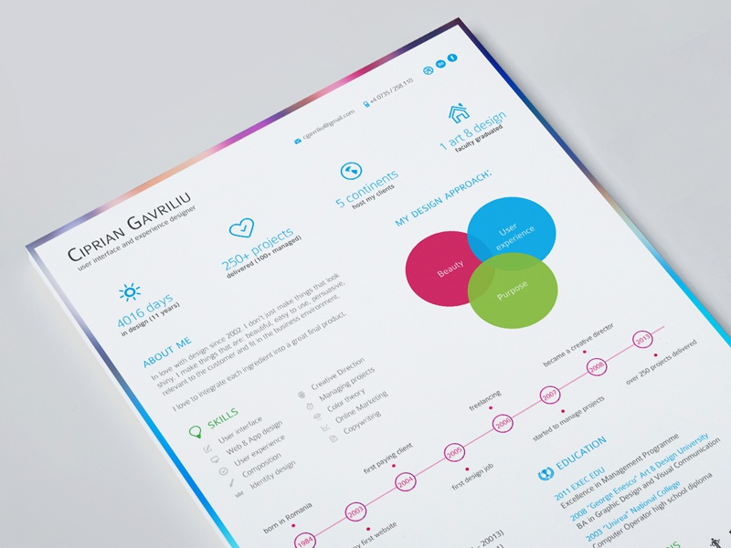 My Visual Resume resume visual cv graphic design information icons curriculum vitae infographic clean skills