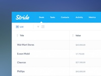 List View(table) for Deals in Stride CRM