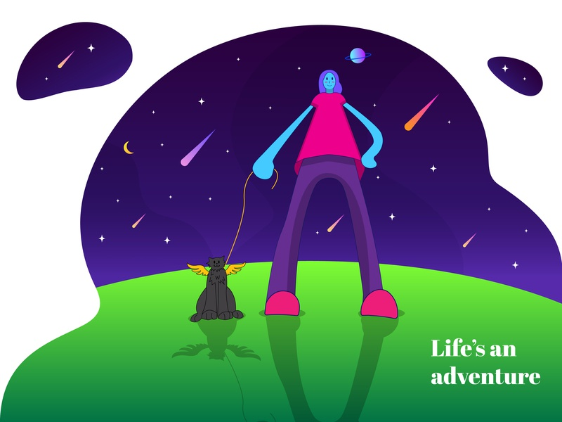 Life's an adventure companion evening stars planet cat green night girl design magenta purple illustration ace2ace studio ace2ace