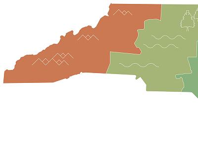 North Carolina Illustration Part 2 — Issue III: Environment map geographic state north carolina vector graphic illustration