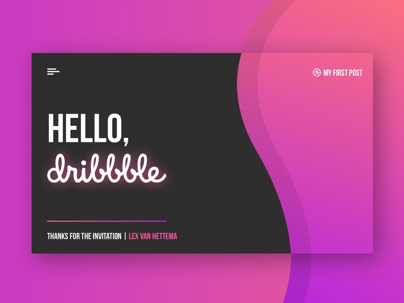 Hello Dribbble! ui design post first welcome