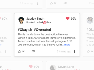 Review card with trust marker - BookMyShow Ratings & Reviews content ui design reviews ratings heart design ticket app movie app bookmyshow