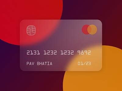 Glassmorphic Credit Card ui design blur glassmorphic mastercard creditcard glassmorphism