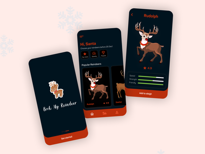 If Santa had a pet app 🎅 ui design design dailyui ui mobile ui reindeer santa christmas