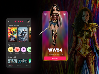 Movie discovery and watching app concept. dailyui movie wonder woman blur design ui design ui movie app