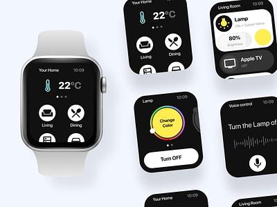Smart Home App on Apple Watch apple design watch ui design ui design ui smart home app smarthome smart home apple watch apple
