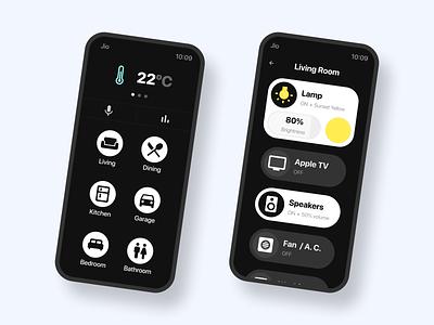 Smart Home App on iPhone smart home smarthome light remote apple iphone ui design ui design