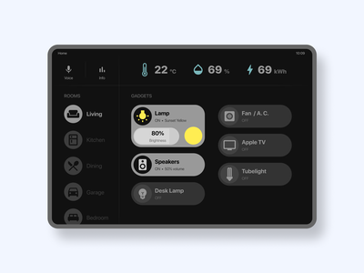 Smart Home App on iPad light remote smart home smarthome ipad app apple ipad ui design ui design