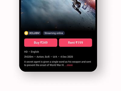 Movie streaming app - Details page closeup | BookMyShow Stream movies streaming app streaming online streaming blur ticket app bookmyshow movie app ui design ui design