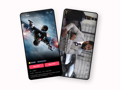 Movie rental streaming app | BookMyShow Stream streaming online streaming app streaming movies tenet blur ticket app bookmyshow ui movie app design ui design