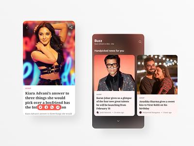 Latest Bollywood news app concept blur news app newsfeed news blog design blog movie app ui design ui design