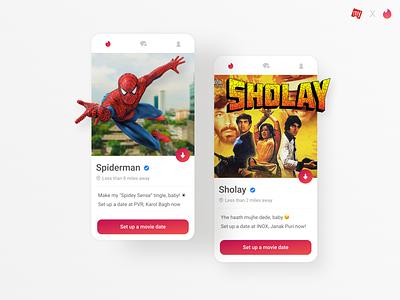 Movies x Dating app concept movies blur ticket app bookmyshow movie app ui design ui design