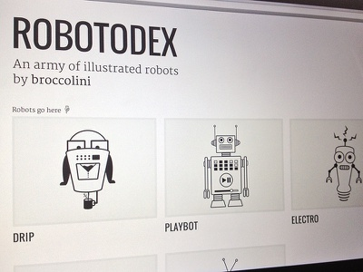 Robotodex robots robotodex website web design gallery illustration