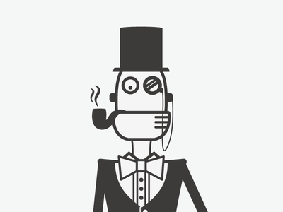 Fancy bot in the works robot robotodex fancy illustration pipe monocle bow tie