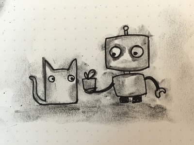 Robot and cat robot cat sketch charcoal cute