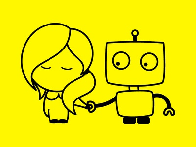 bot and broccolini 2 illustration robot bot cute