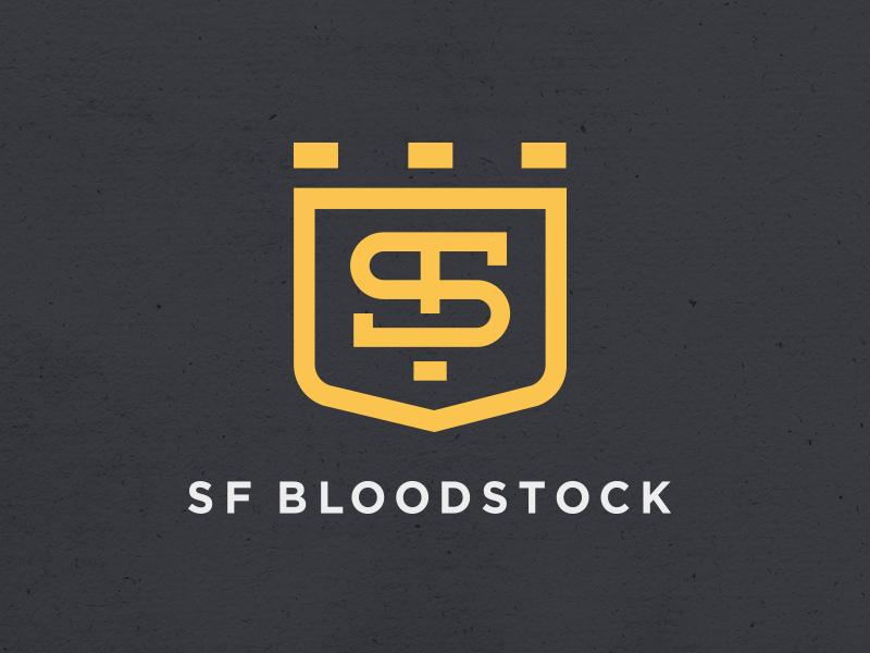 SF Bloodstock farm horses breeding bloodstock monogram branding logo crown shield thoroughbred horse