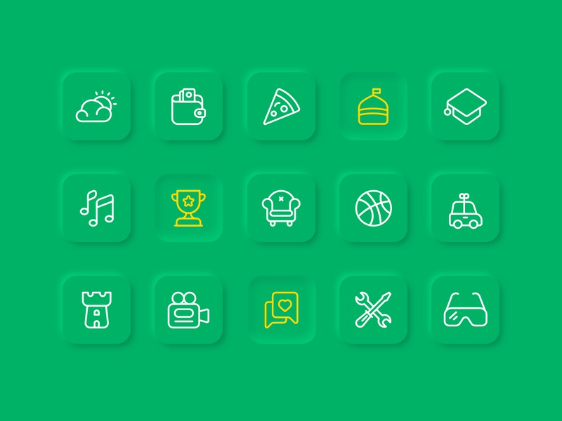 Bazaar category icons game video weather like ball pizza neumorphic app mobile iran ui line vector illustration icon