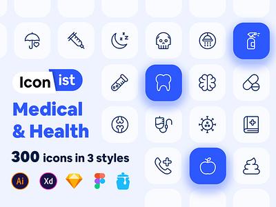 Medical and Health (Iconist) 2 poop brain virus apple medicine health medical icon set iconist design app mobile ui vector line icon