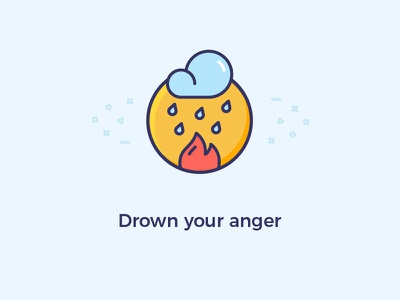 Drown your anger anger your drown vector illustration heart hand god bright