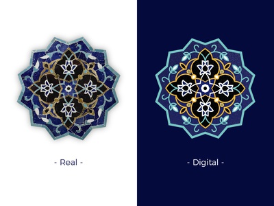 Iranian traditional tile 1 mosque flower vector digital real islam tile traditional iran