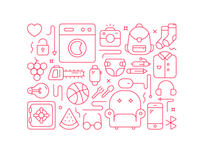 Shopping Pattern camera shirt watch heart mobile penn sport line baby furniture vector icon shop