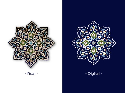 Iranian traditional tile 2 islam iran mosque real digital tile flower traditional vector line