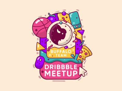 Dribbble Meetup (Buffalo Team) icon persian illustration line tehran iran team buffalo meet up dribbble