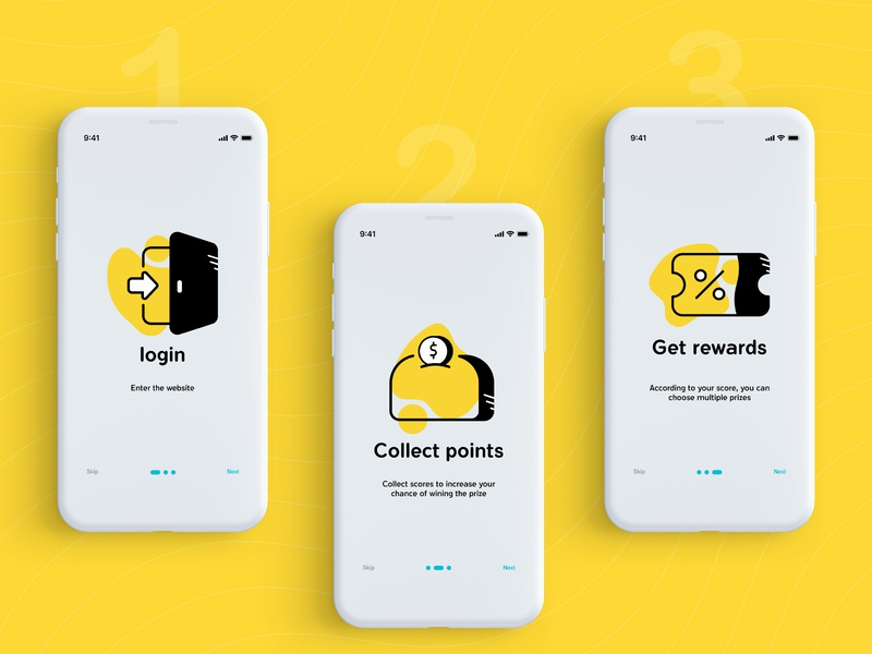 Onboarding for Digiclub step point login ticket yellow club digikala icon app mobile onboarding