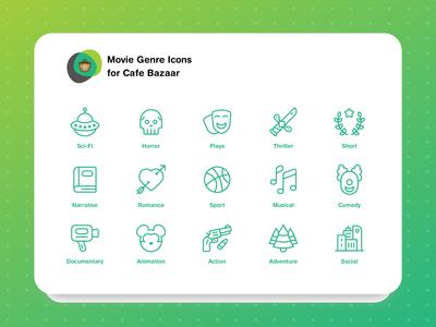 Movie Genres Icon Set
